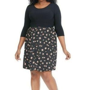 Gilli Twofer Black Floral Fit and Flare Dress 1X